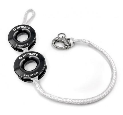 Bozzello doppio con cima Dyneema® SK99 impiombata e anello basso attrito