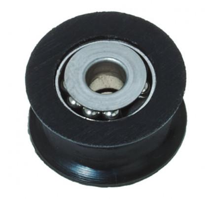 Puleggia in delrin con calotte e sfere inox Ø38mm, D2:8.8mm, D3:12mm, S:20.6mm G:28mm nera