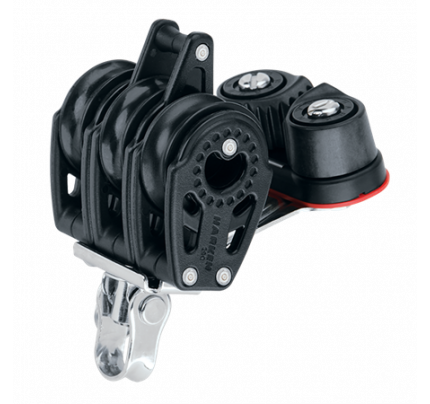 Harken-HK347-29 mm Triple Block — Becket, Cam Cleat Triplo/girevole/Carbo/Arricavo/CamCleat-20